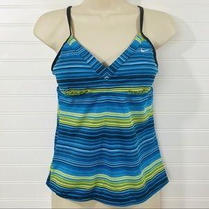 Nike Blue & Green Striped Tankini Swim Top EUC